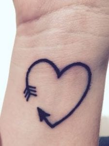 Heart Shape Arrow Tattoo