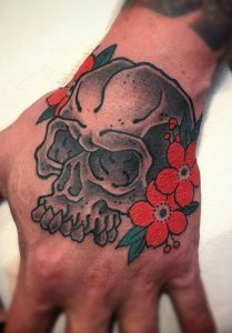 Japanese Skull and Flower Tattoo