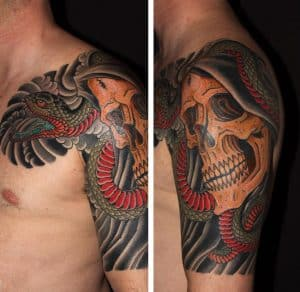 Japanese Skull and Snake Tattoo