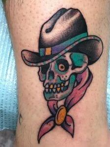 Neon Cowboy Skull Tattoo