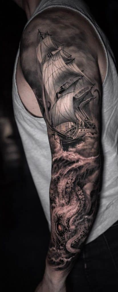 Ship and Octopus Tattoo