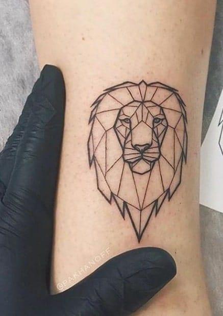 Small Geometric Lion Tattoo