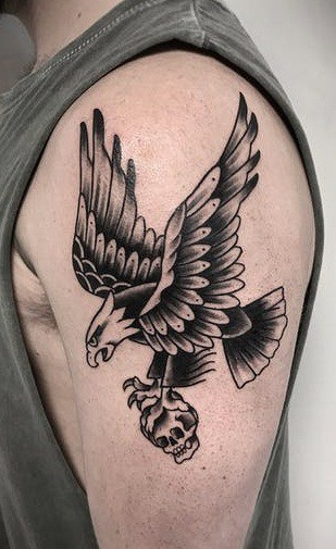 Traditional Black and Grey Eagle Tattoo