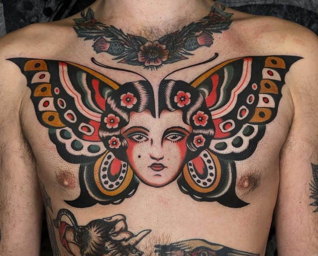 Traditional Butterfly Tattoo on the Chest