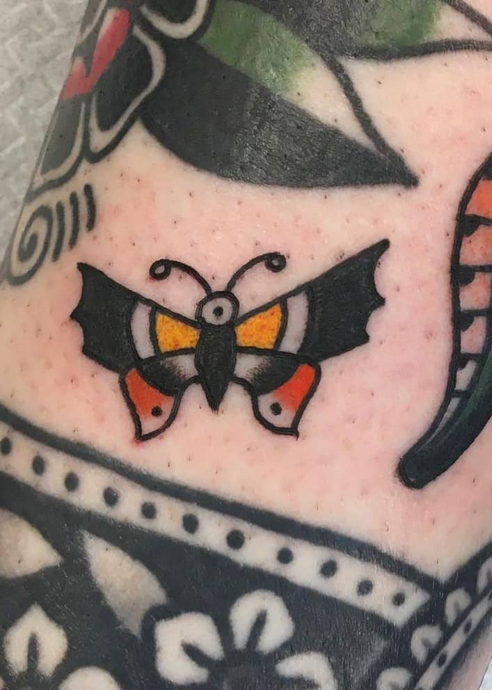 Small Traditional Butterfly Tattoo