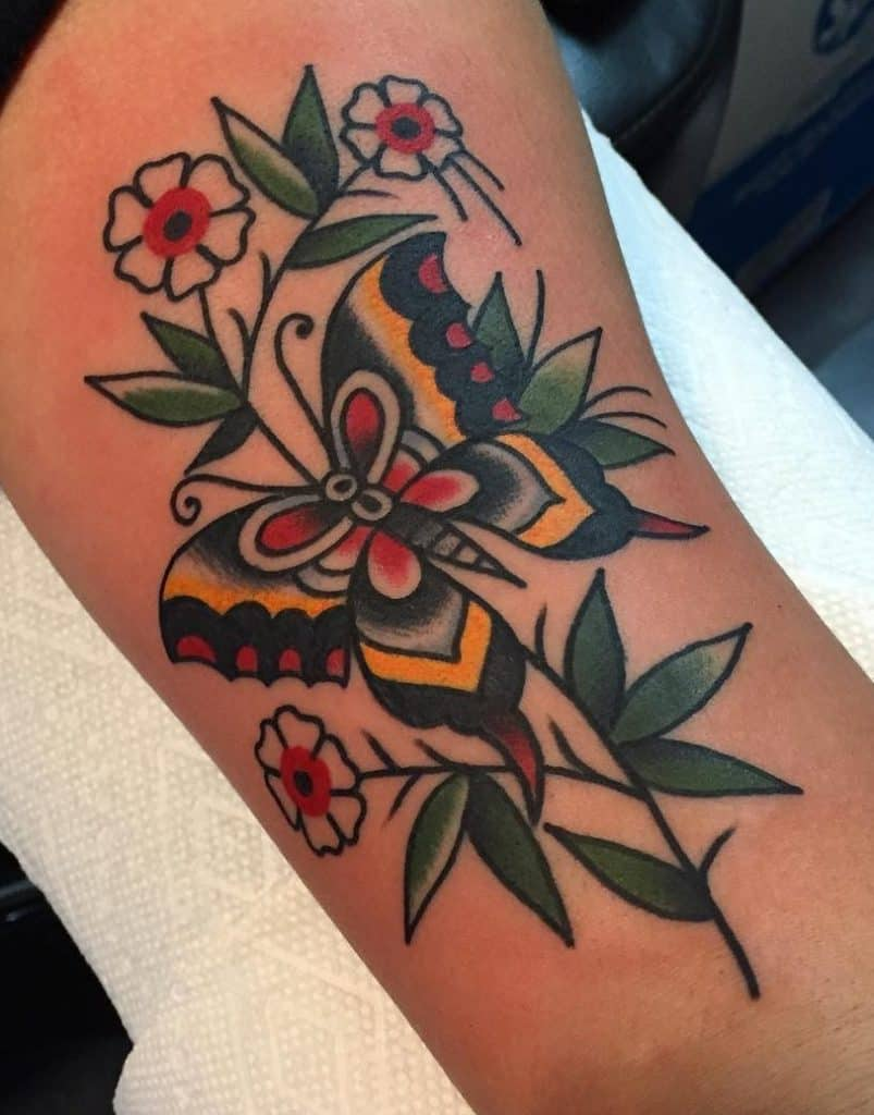 Traditional Butterfly Tattoo with Flowers