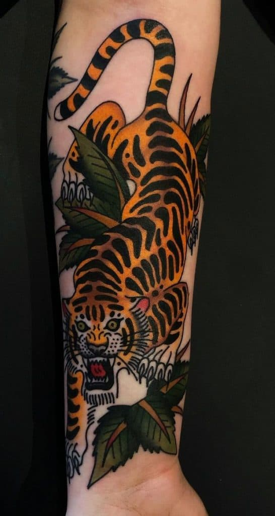Traditional Crawling Tiger Tattoo
