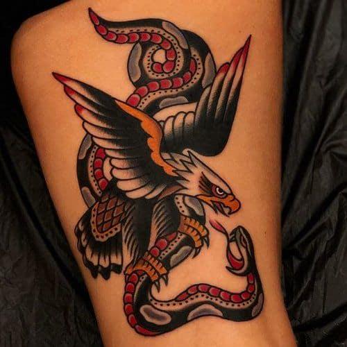 Traditional Eagle Tattoo and Snake Tattoo