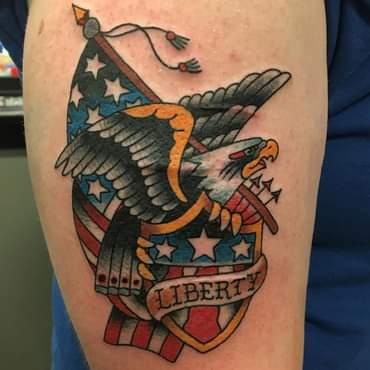 Traditional Eagle Tattoo and US Flag