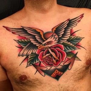 Traditional Eagle Tattoo on Chest