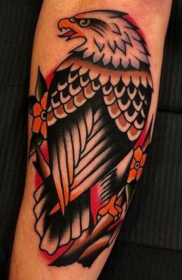 Traditional Eagle Tattoo on Forearm