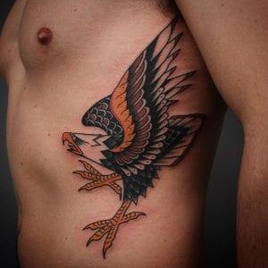 Traditional Eagle Tattoo on Ribs