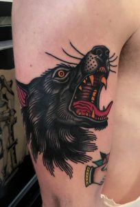 Traditional Howling Wolf Tattoo