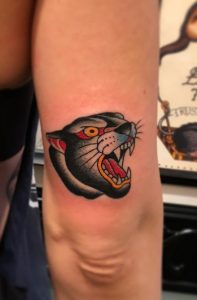 Traditional Panther Head Tattoo