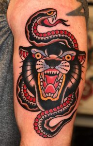 Traditional Panther and Snake Tattoo