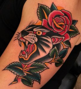 Traditional Panther and Traditional Rose Tattoo