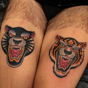 Traditional Panther and Traditional Tiger Tattoos
