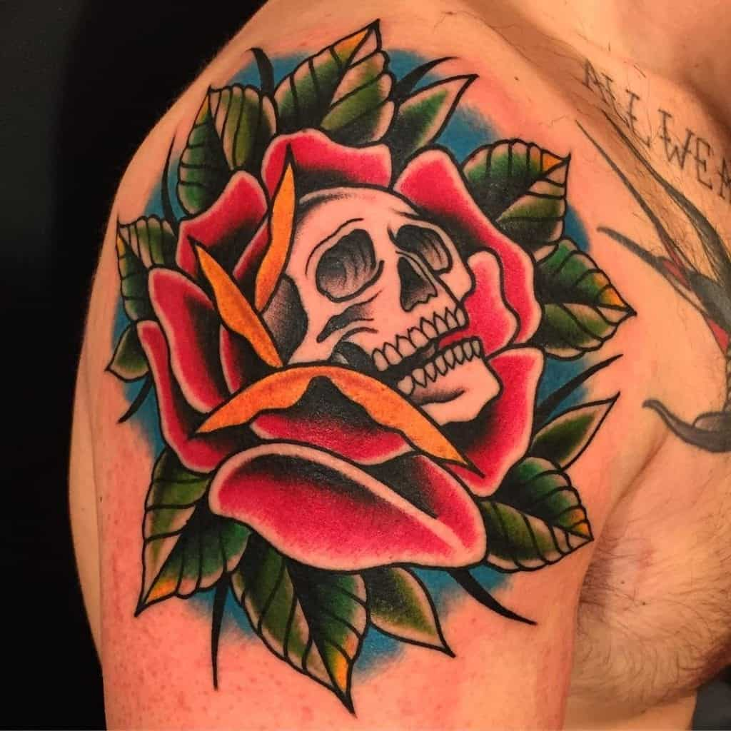 Traditional Rose and Skull Tattoo