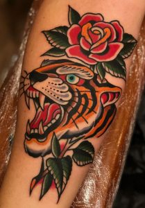 Traditional Rose and Tiger Tattoo