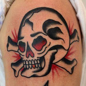 Traditional Skull and Crossbones Tattoo