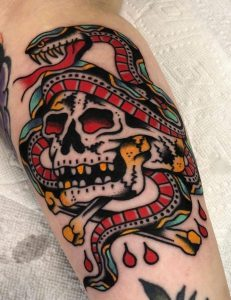 Traditional Skull and Snake Tattoo