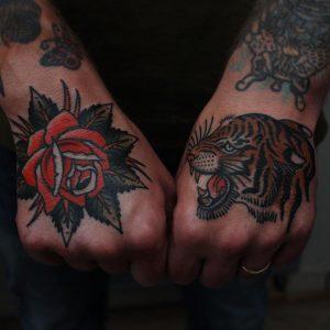 Traditional Tiger Hand Tattoo