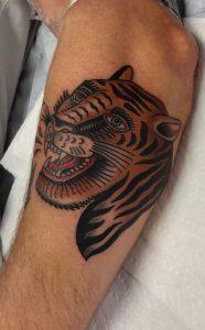 Traditional Tiger Head Tattoo