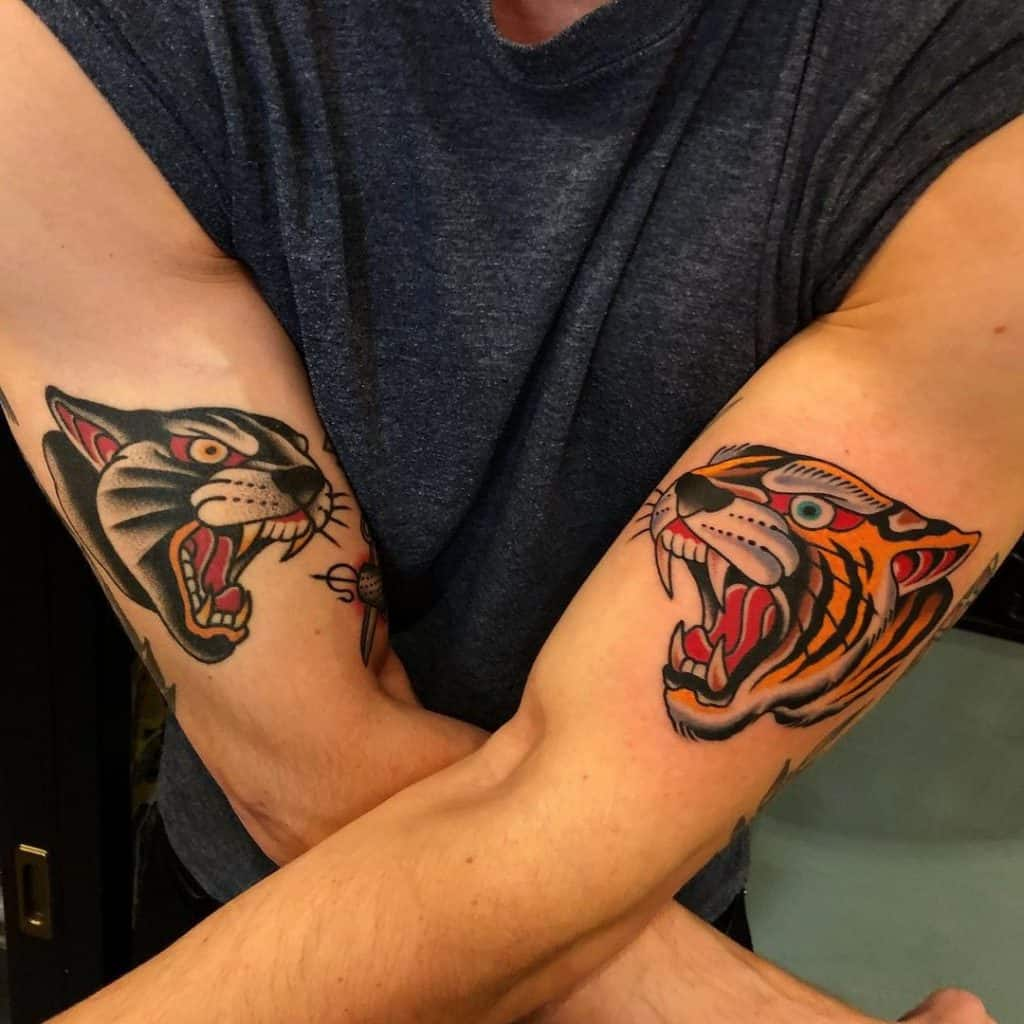 Traditional Tiger and Panther Tattoo