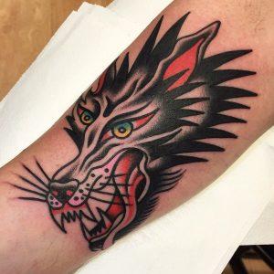 Traditional Wolf Head Tattoo