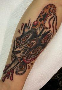 Traditional Wolf Tattoo