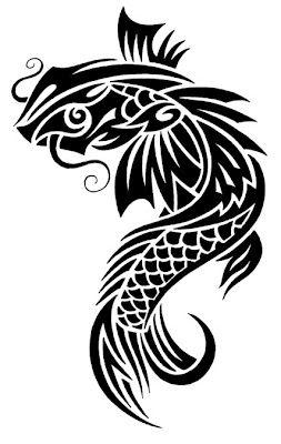 Tribal Koi Fish Tattoo Design