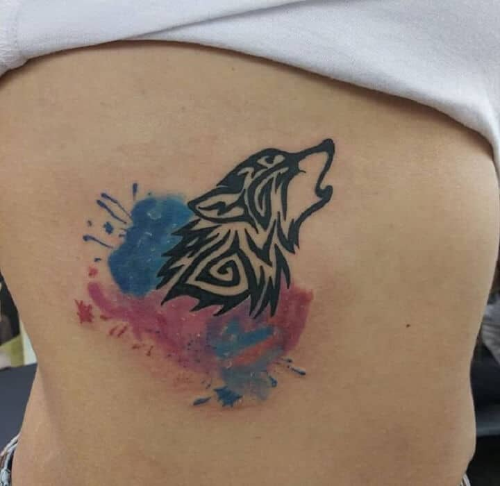 Watercolor Tribal Wolf Tattoo