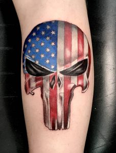 US Flag and Punisher Skull Tattoo