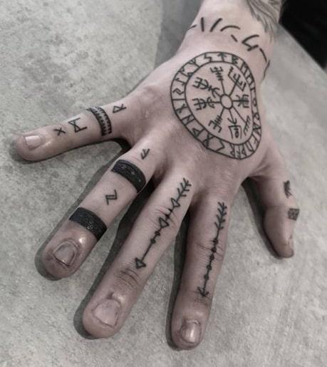 Viking Compass Hand Tattoo