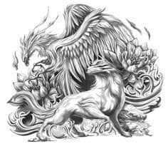 Wolf and Phoenix Tattoo Design