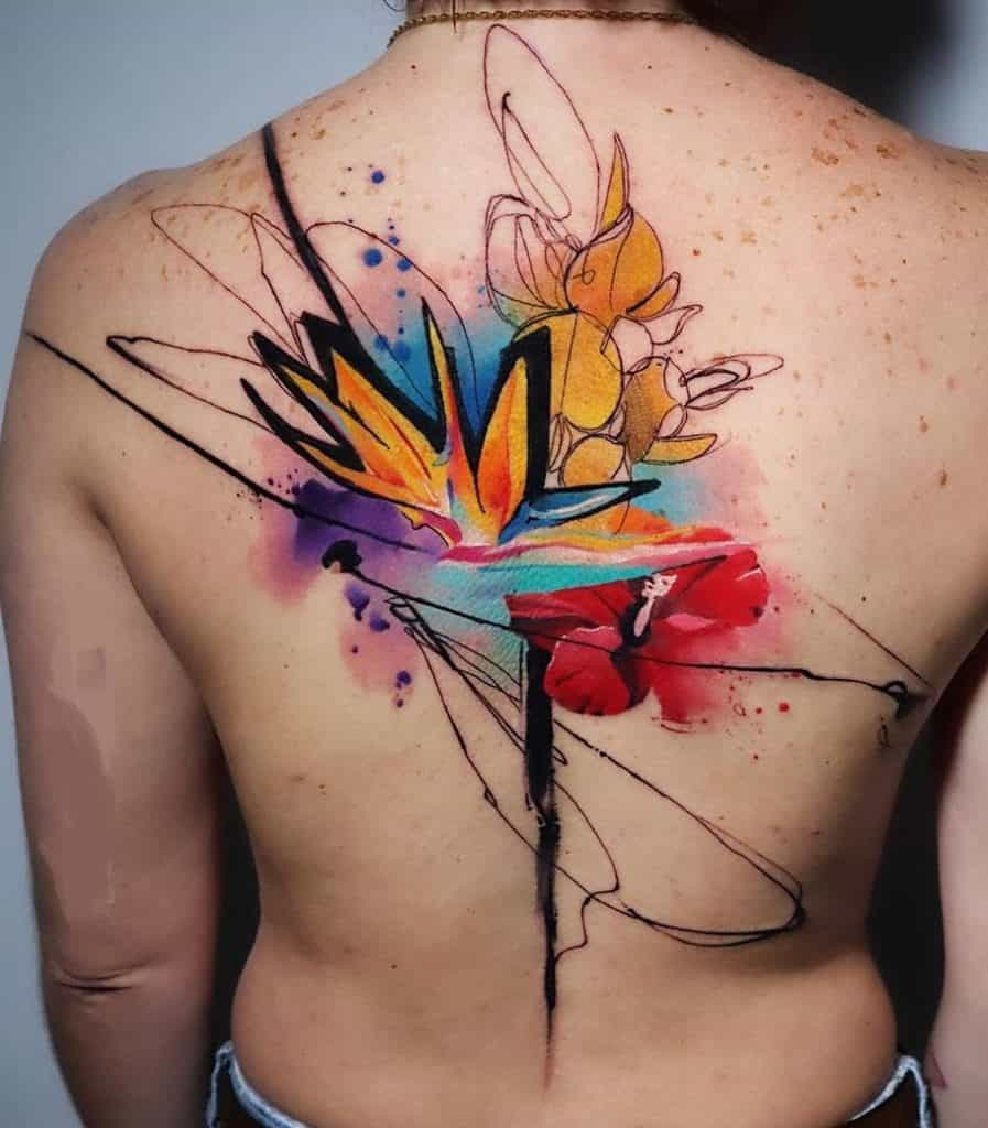 Abstract Watercolor Flower Tattoo