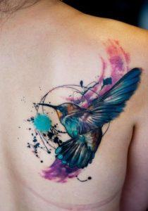 Abstract Watercolor Hummingbird Tattoo