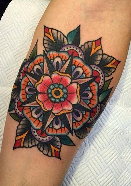 American Traditional Geometric Flower Tattoo