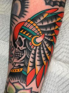 American Traditional Indian Skull Tattoo