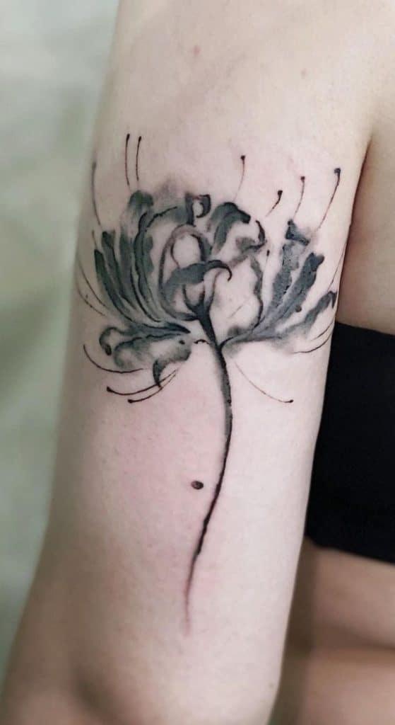 Black & Grey Watercolor Flower Tattoo