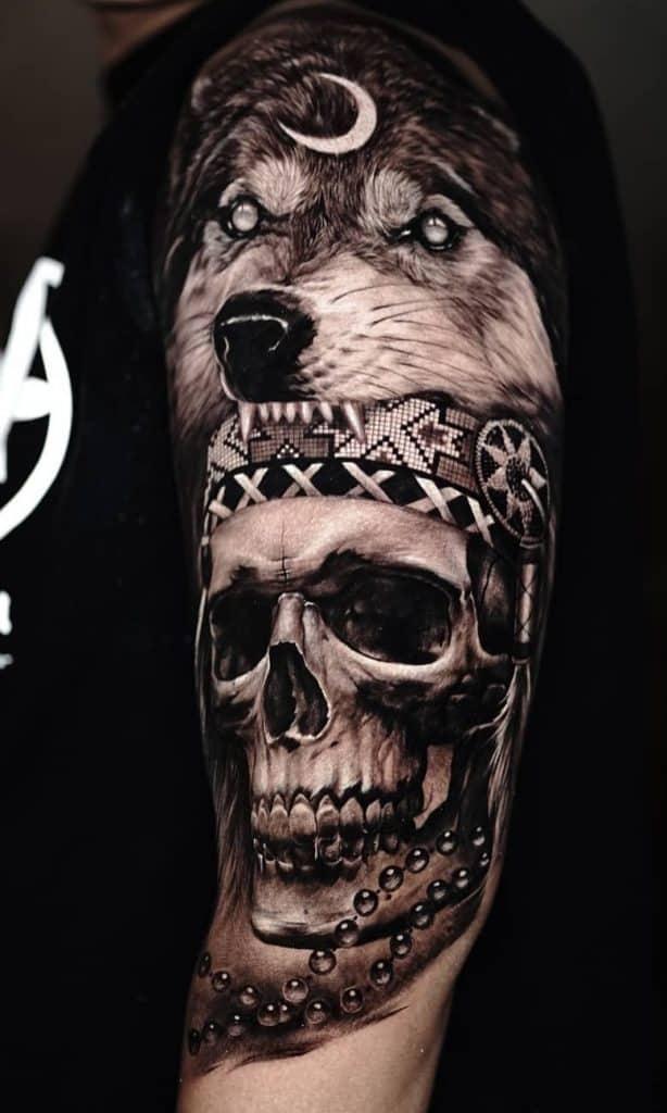 Black and Grey Indian Skull Tattoo
