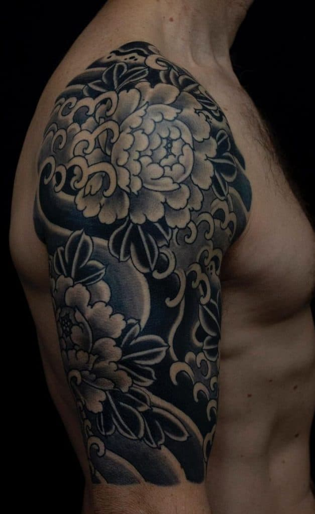 Black and Grey Japanese Flower Tattoo