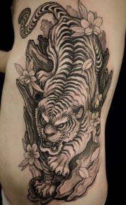Black and Grey Japanese Tiger Tattoo