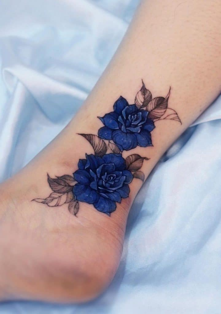 Blue Rose Ankle Tattoo