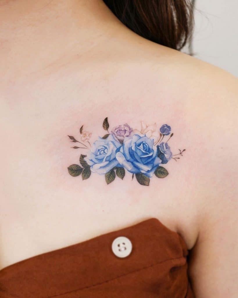 Blue Rose Chest Tattoo