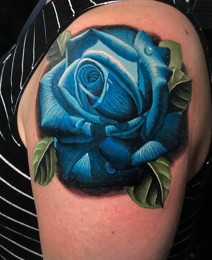 Blue Rose Shoulder Tattoo