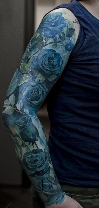 Blue Rose Sleeve Tattoo