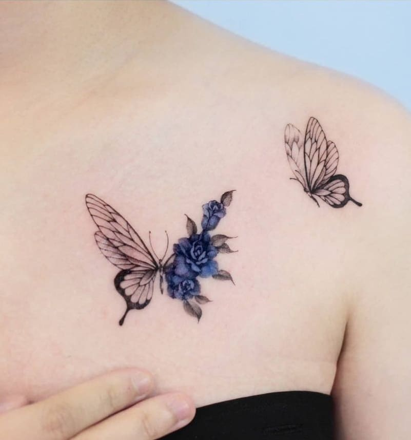 Blue Rose and Butterfly Tattoo