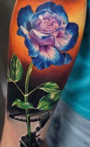 Blue and Purple Rose Tattoo