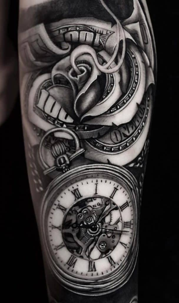 Clock and Money Rose Tattoo